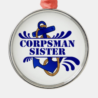 """Corpsman Sister, Anchors Away!"""" Christmas Ornament"""