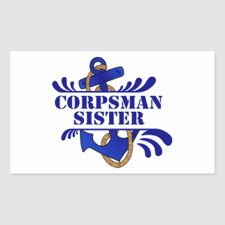 Corpsman Sister, Anchors Away! Rectangle Stickers