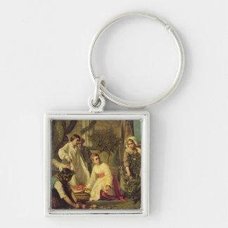 Corpus Christi, 1855 Silver-Colored Square Keychain