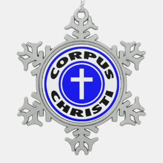 Corpus Christi Snowflake Pewter Christmas Ornament