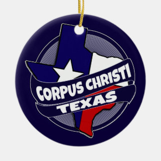 Corpus Christi Texas flag burst holiday ornament
