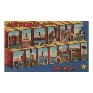 Corpus Christi, Texas - Large Letter Scenes Poster