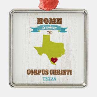 Corpus Christi, Texas Map – Home Is Where Metal Ornament