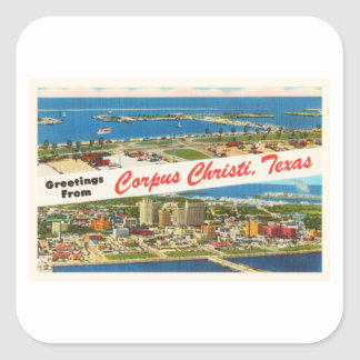 Corpus Christi Texas TX Vintage Travel Souvenir Square Sticker