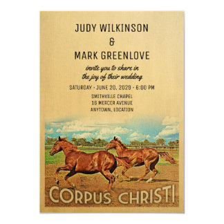 Corpus Christi Texas Wedding Invitation Horses
