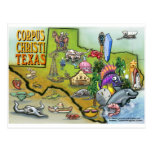 Corpus Christi Tx Cartoon Map Post Cards