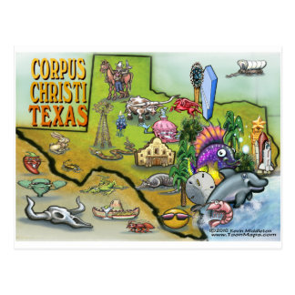 Corpus Christi Tx Cartoon Map Postcard