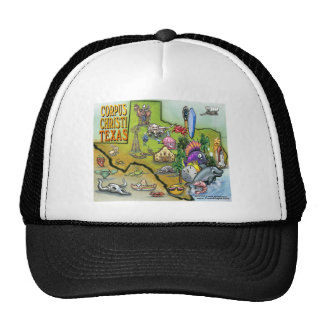 Corpus Christi Tx Cartoon Map Trucker Hat
