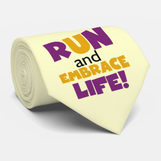 Corra el amarillo púrpura de la vida del abrazo corbatas