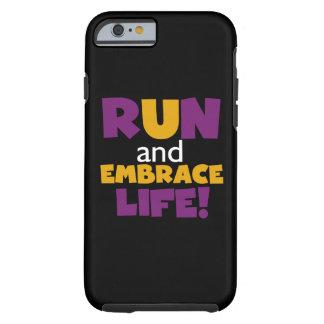 Corra el amarillo púrpura de la vida del abrazo funda de iPhone 6 tough