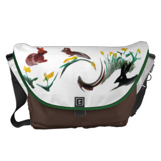 Corra el arte animal floral corrido conejo bolsas de mensajería