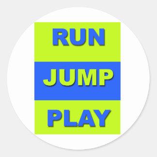 Corra el juego del salto pegatinas redondas