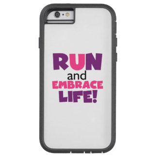 Corra el rosa púrpura de la vida del abrazo funda para  iPhone 6 tough xtreme