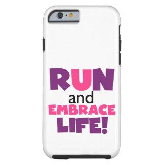 Corra el rosa púrpura de la vida del abrazo funda para iPhone 6 tough