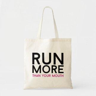 Corra más que su boca bolsa lienzo