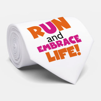 Corra y abrace el rosa del naranja de la vida corbatas personalizadas