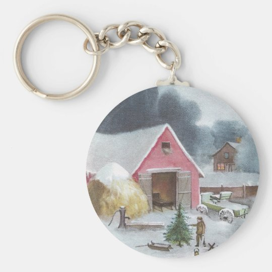 Corral con navidad rosado del vintage del granero llavero redondo tipo pin