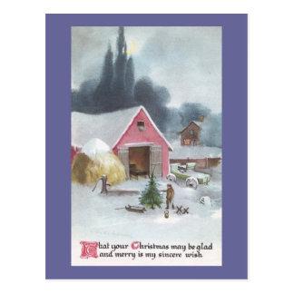 Corral con navidad rosado del vintage del granero postal
