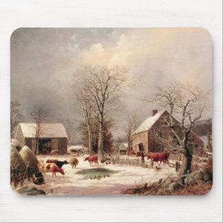 Corral en invierno mouse pad