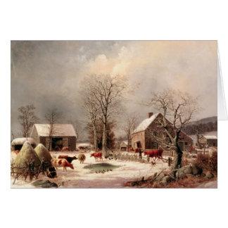 Corral en invierno tarjeta de felicitación