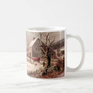 Corral en invierno tazas de café