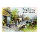 Corral rústico con el caballo y las cabras plantilla de tarjeta personal