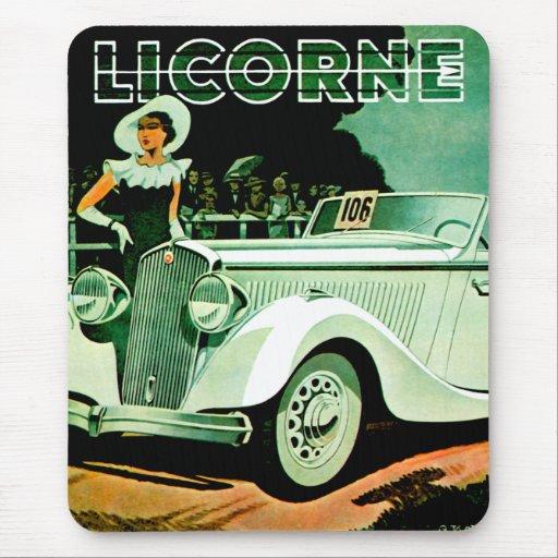 Corre La Licorne ~ Vintage Automobile Ad Mouse Pad