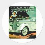 Corre La Licorne ~ Vintage Automobile Ad Classic Round Sticker