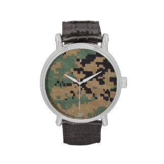 Correa de cuero del vintage con el arbolado MARPAT Relojes De Mano