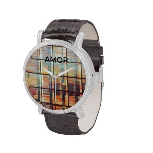 Correa de cuero del vintage con el  negro de la  reloj de mano