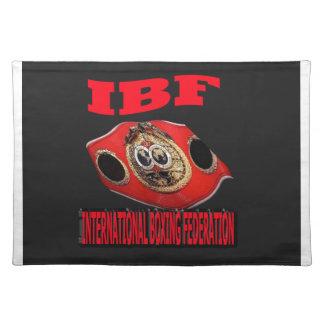 Correa del boxeo del campeonato de IBF con el fond Manteles