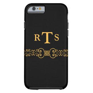Correa elegante y adornada de las iniciales - oro funda de iPhone 6 tough