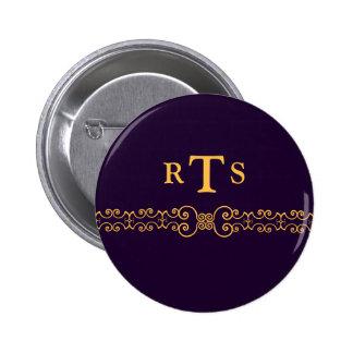 Correa elegante y adornada de las iniciales - oro pin redondo de 2 pulgadas