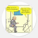 Correa en dibujo animado de la cárcel etiquetas