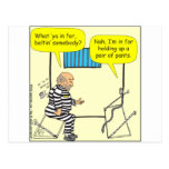 Correa en dibujo animado de la cárcel postales