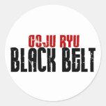 Correa negra de Goju Ryu Etiquetas Redondas