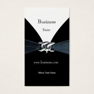 Correa negra de plata blanca de la tarjeta de tarjetas de visita