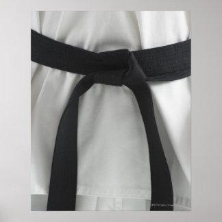 Correa negra del karate póster