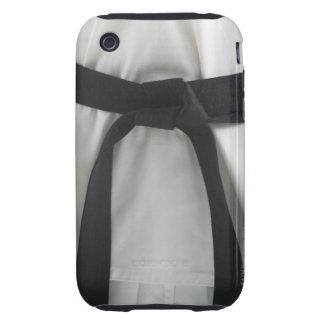 Correa negra del karate tough iPhone 3 cárcasa