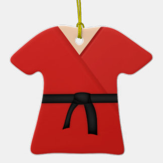 Correa negra del uniforme del rojo del karate ornamentos de navidad