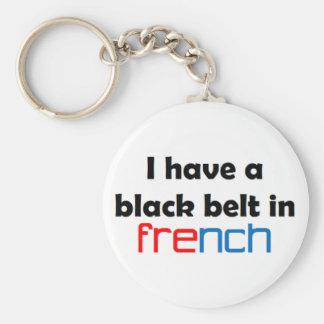 Correa negra francesa llavero redondo tipo pin