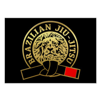 Correa negra plateada oro de Jiu-Jitsu del Póster