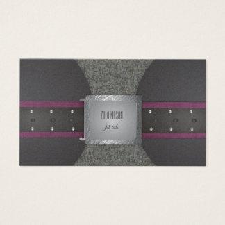 Correa púrpura y negra tarjetas de visita