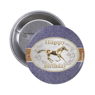 Correa y hebilla occidentales en feliz cumpleaños pin redondo 5 cm