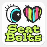 Correas brillantes del asiento para dos del corazó calcomanía cuadrada