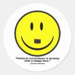 corrección política etiquetas redondas