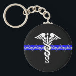 "Correctional Nurse Keychain<br><div class=""desc"">Take the Barbed Wire Thin Blue Line of Corrections,  add the Caduceus of Nursing,  and you have a symbol as Unique as your Profession!</div>"