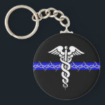 """Correctional Nurse Keychain<br><div class=""""desc"""">Take the Barbed Wire Thin Blue Line of Corrections,  add the Caduceus of Nursing,  and you have a symbol as Unique as your Profession!</div>"""