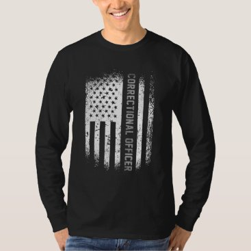Correctional Officer American Flag Thin Silver Lin T-Shirt
