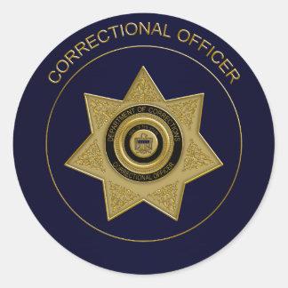 Correctional Officer Badge,Gold-Blue-Round Sticker